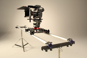 Camera slider with C300 in studio video production.